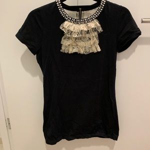Anthropologie long black tee with pearls and lace
